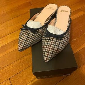 J Crew Pointed Toe Mules with Bow In Houndstooth